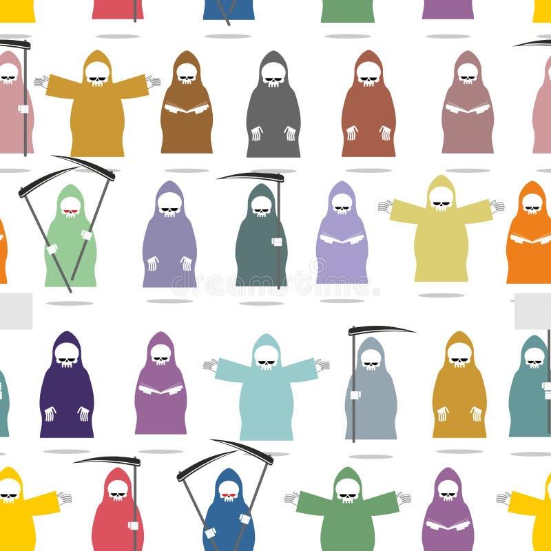 Grappige dood in helder robes naadloos patroon Textuur van vele G vector illustratie