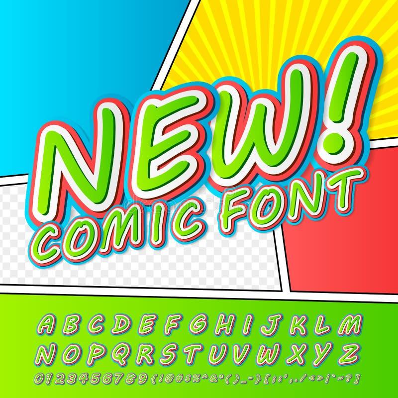 Grappige Doopvont Alfabet in stijl van strippagina, pop-art vector illustratie