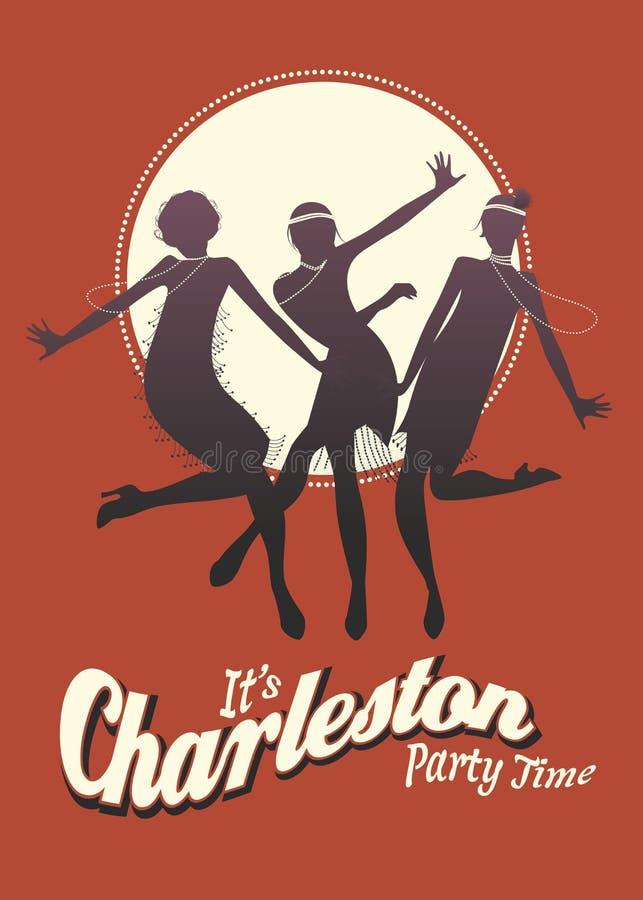 Grappige drie meisjes dansend Charleston royalty-vrije illustratie