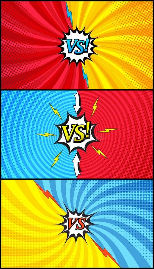 Grappige duel en strijd horizontale banners stock illustratie
