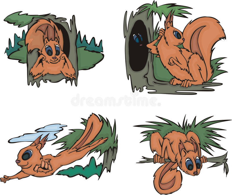 Grappige eekhoorns in bos vector illustratie