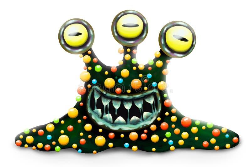 Grappige en enge die monsterbacterie, het stuk speelgoed van beeldverhaalkinderen held voor Halloween, op witte achtergrond wordt vector illustratie