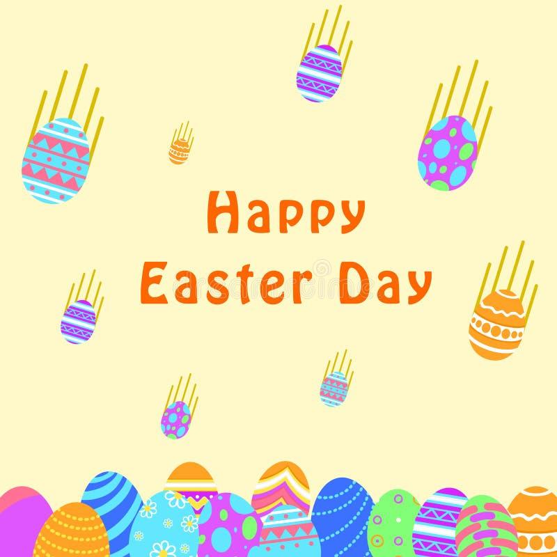Grappige en Kleurrijke Gelukkige Pasen-groetkaart met illustratie van dalende eieren en teksten r vector illustratie