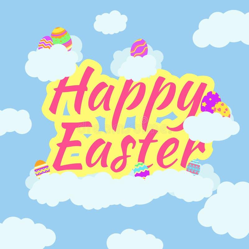 Grappige en Kleurrijke Gelukkige Pasen-groetkaart met illustratie van eieren, wolken en tekst stock illustratie