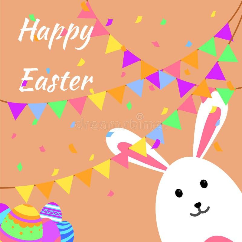 Grappige en Kleurrijke Gelukkige Pasen-groetkaart en partij met konijn, konijntjesillustratie, eieren, banner, vlag, confettienpa royalty-vrije illustratie