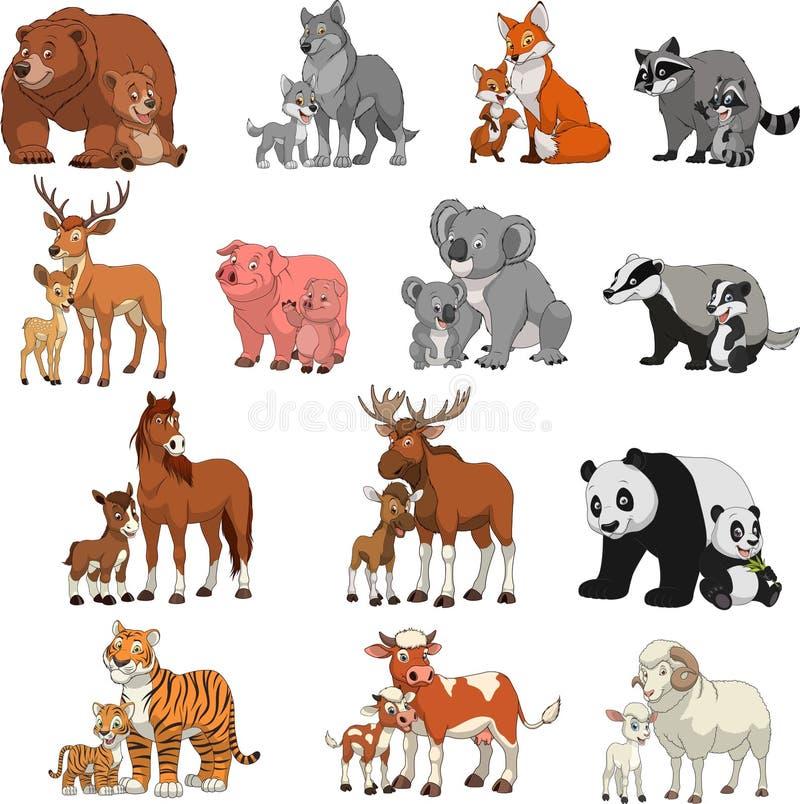 Grappige exotische dieren royalty-vrije illustratie