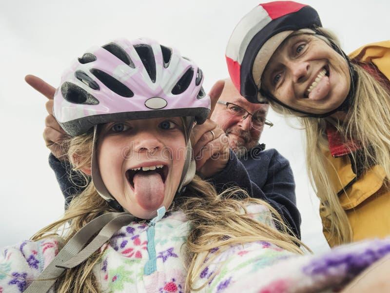 Grappige Familie Selfie stock afbeeldingen