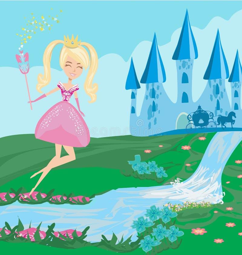 Grappige fee en een middeleeuws kasteel vector illustratie