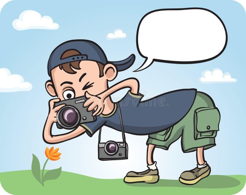 Grappige Fotograaf Making Macro Photography stock illustratie