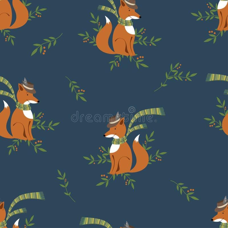 Grappige foxy met sjaal en hoedenpatroon vector illustratie