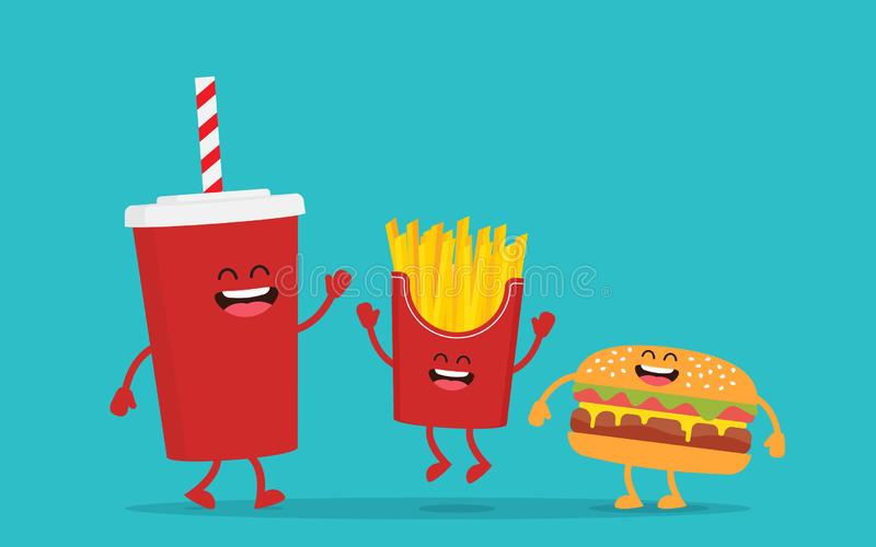 Grappige frieten met hamburger en kola royalty-vrije illustratie