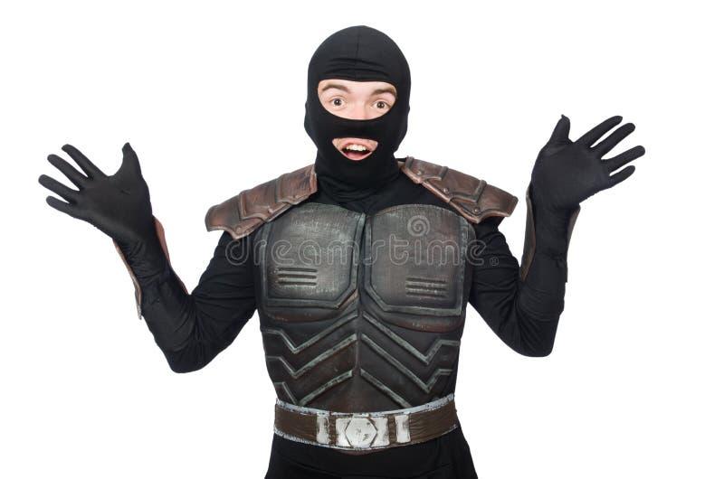 Grappige geïsoleerde ninja stock fotografie