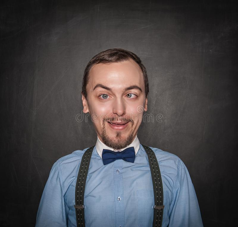 Grappige gekke leraar of bedrijfsmens op bord royalty-vrije stock foto