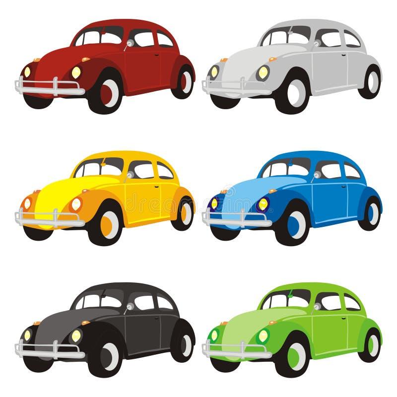grappige gekleurde auto's stock illustratie