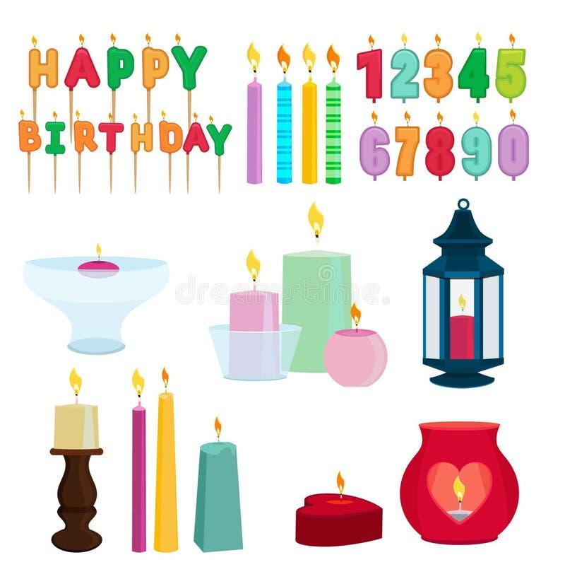 Grappige gekleurde kaarsen voor verjaardagspartij De vectorreeks van het beeldverhaal royalty-vrije illustratie