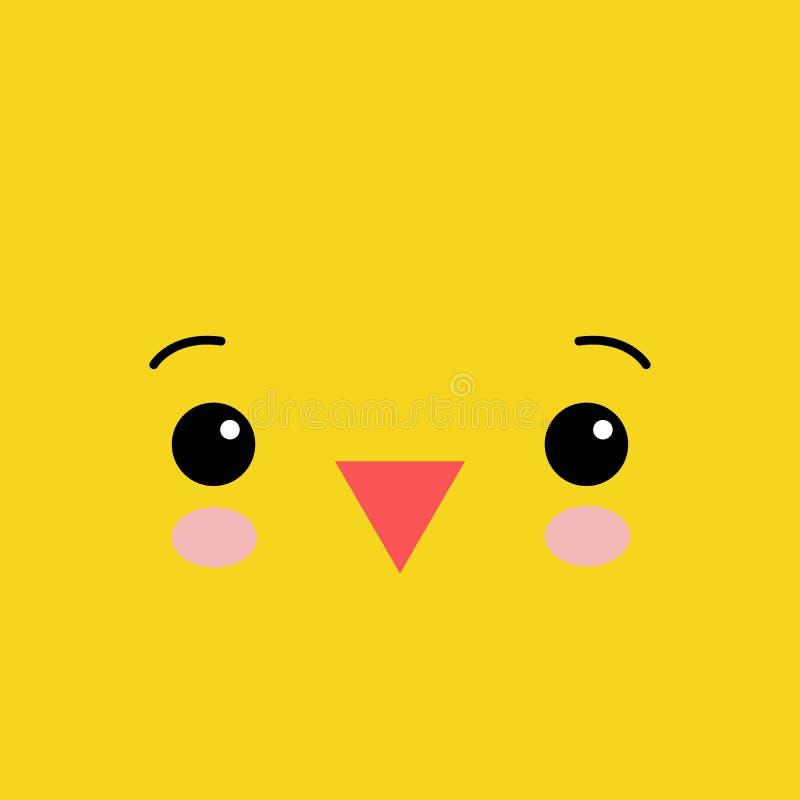 Grappige gele pasgeboren kip kawaii dierlijke illustratie stock illustratie