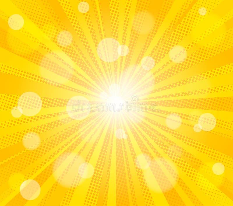 Grappige gele van de van achtergrond zonstralen de kitschtekening pop-art retro vectorillustratie royalty-vrije illustratie