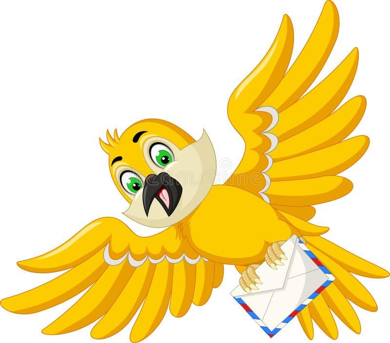 Grappige vogel met post vector illustratie. Illustratie bestaande ...