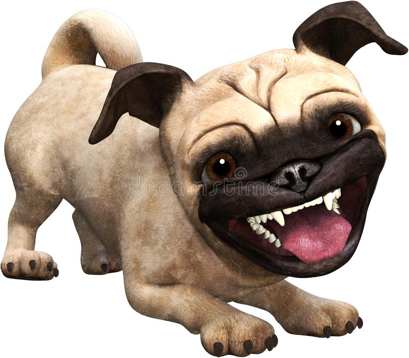 Grappige Gelukkige Pug Geïsoleerde Hond, Glimlach, het Glimlachen royalty-vrije illustratie