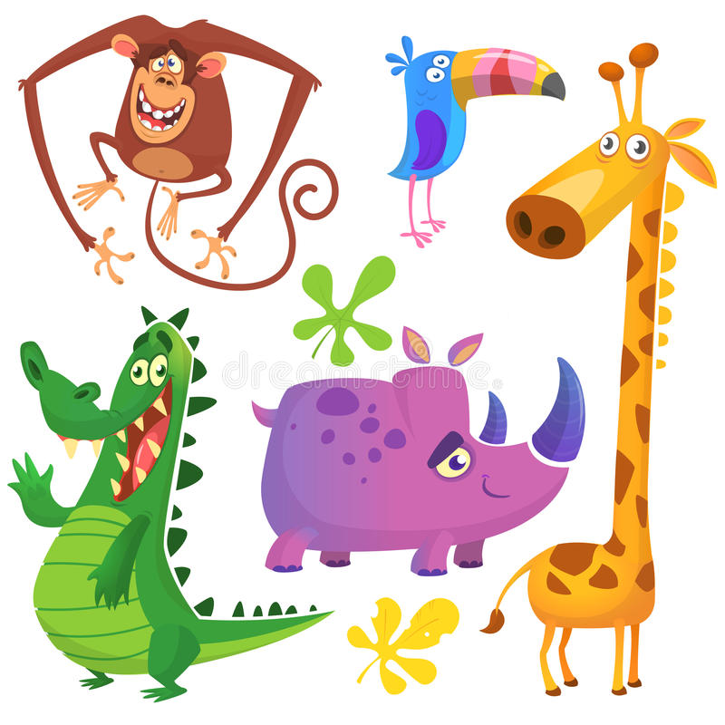 Grappige geplaatste beeldverhaal Afrikaanse dieren Vectorillustraties van Krokodilalligator, giraf, aapchimpansee, toekan en rino stock illustratie