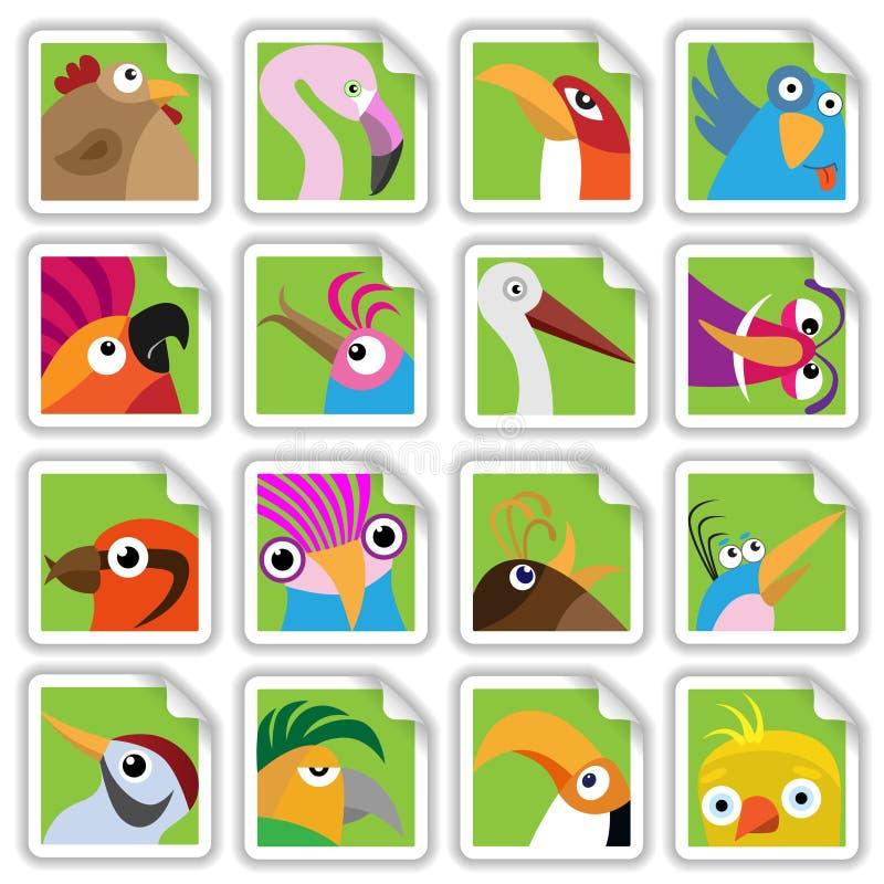 Grappige geplaatste vogels vector illustratie