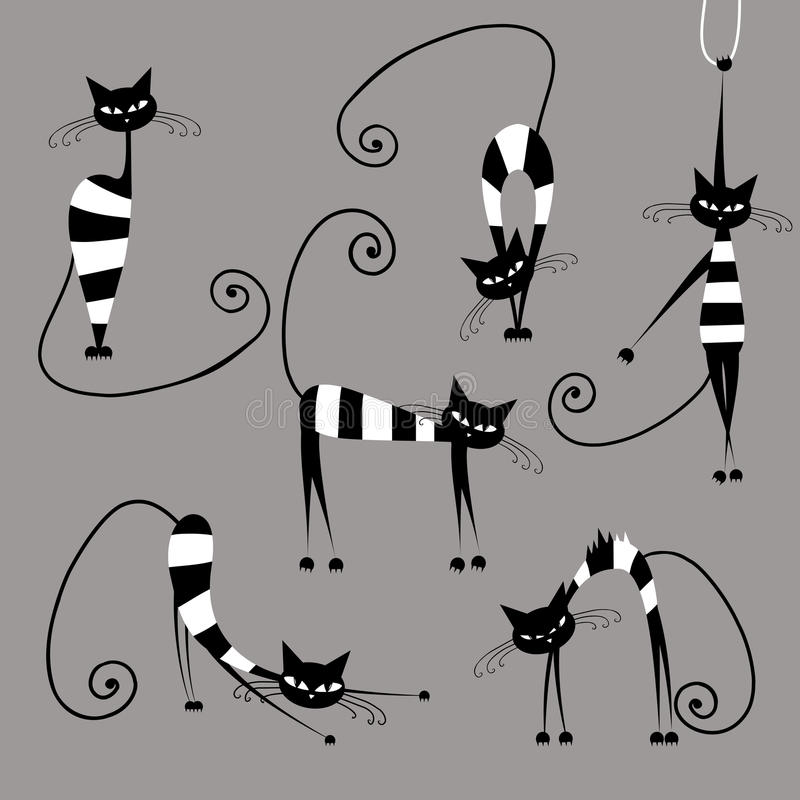 Grappige gestreepte katten, inzameling voor uw ontwerp stock illustratie