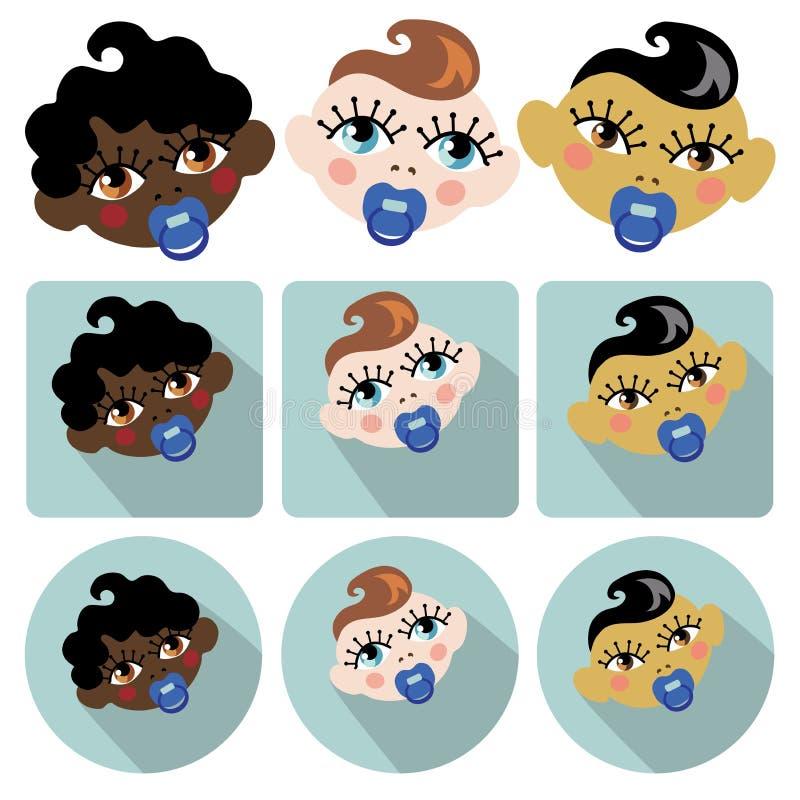 Grappige gezichten van nieuw - geboren babyjongen Baby c vector illustratie