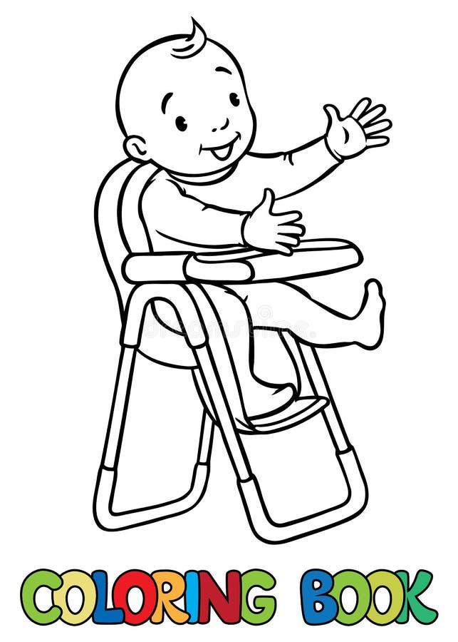 Grappige glimlachende baby in highchair vector illustratie