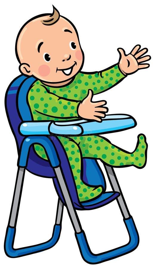 Grappige glimlachende baby in highchair royalty-vrije illustratie