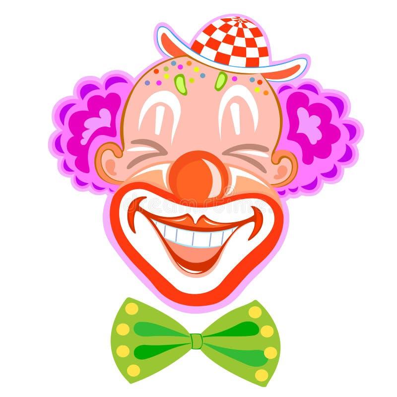 Grappige glimlachende clown met purper haar vector illustratie