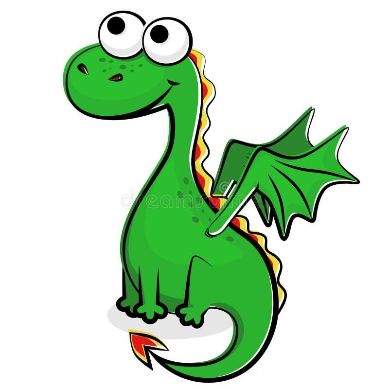Grappige Groene Draak Vector Illustratie. Illustratie