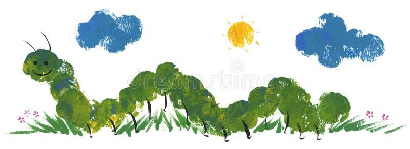 Grappige groene worm stock illustratie