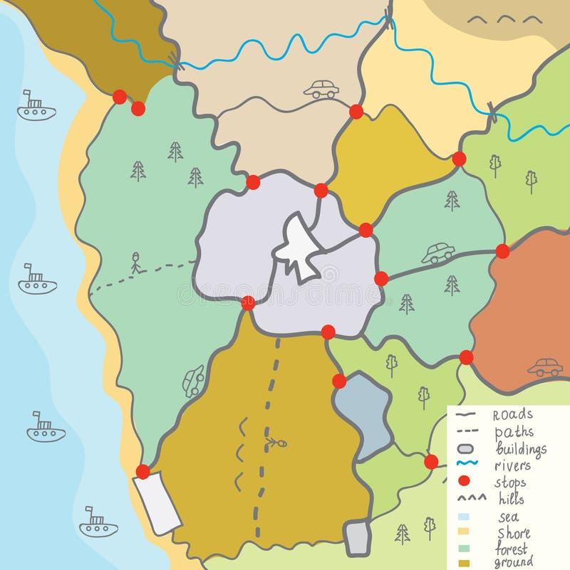 Grappige grondgebiedkaart voor kinderen vector illustratie