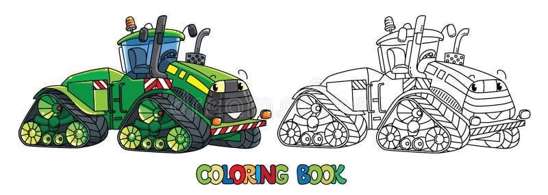 Grappige grote tractor met ogen Kleurend boek stock illustratie