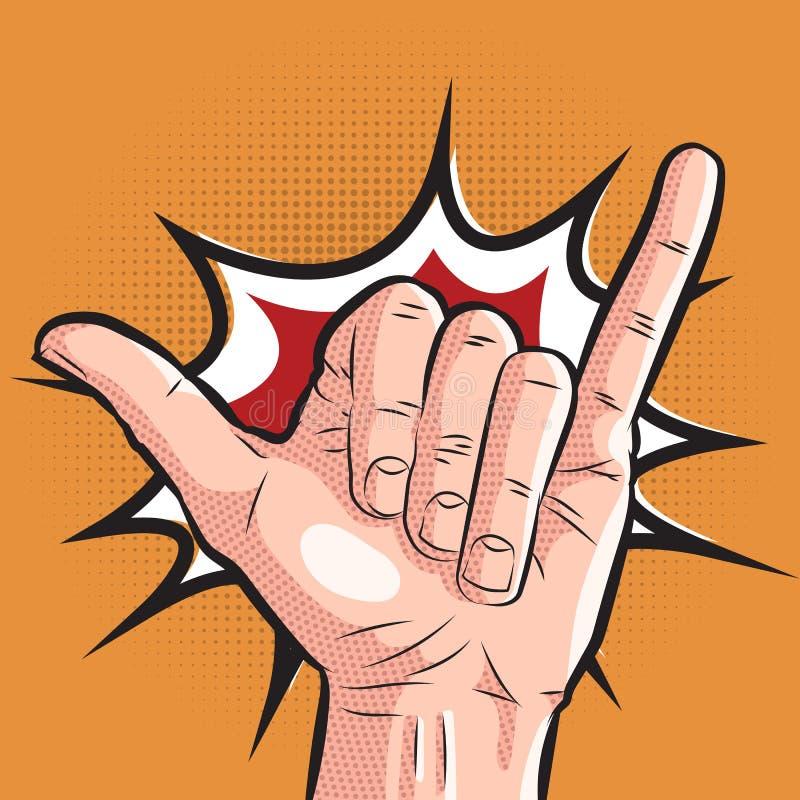 Grappige hand die shakateken tonen de groetgebaar van de pop-artbranding op halftone achtergrond royalty-vrije illustratie
