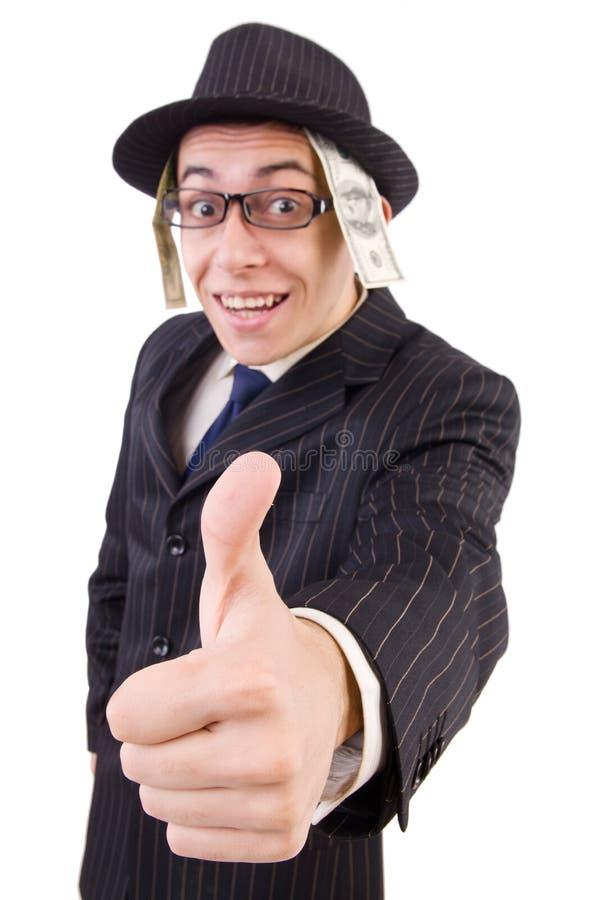 Grappige heer in gestreept die kostuum op wit wordt geïsoleerd stock afbeelding