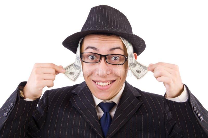 Grappige heer in gestreept die kostuum op wit wordt geïsoleerd royalty-vrije stock fotografie