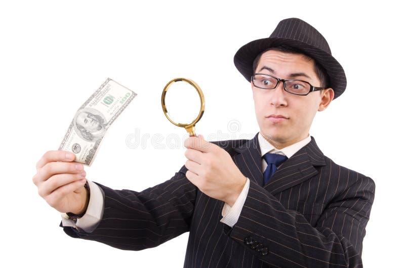 Grappige heer in gestreept die kostuum op wordt geïsoleerd stock foto's