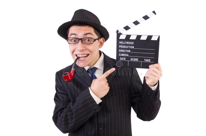 Grappige heer in gestreept die kostuum op wordt geïsoleerd royalty-vrije stock afbeelding