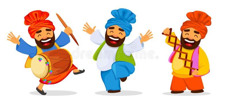 Grappige het dansen Sikh mens het vieren vakantie, reeks royalty-vrije illustratie