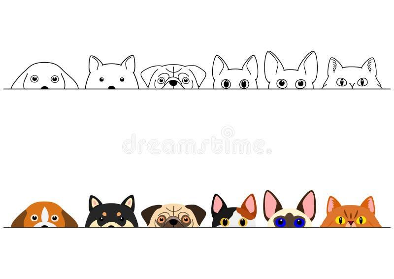 Grappige het gluren katten en hondengrensreeks stock illustratie