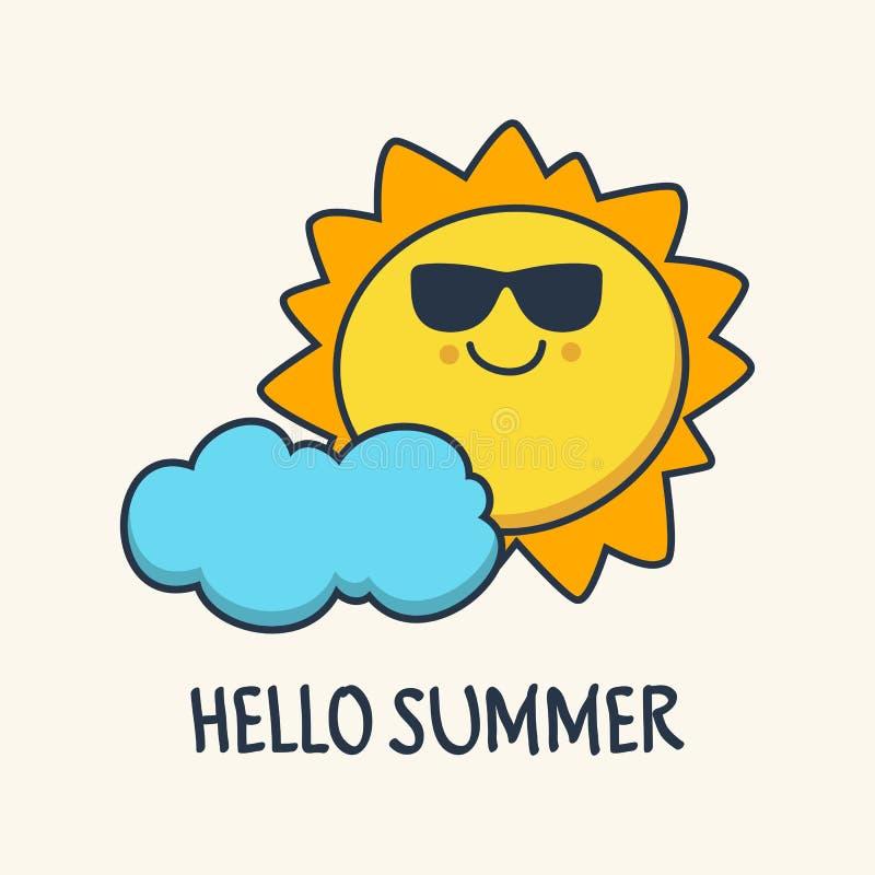 Grappige het schetsen het glimlachen zon en wolk Vectorbeeldverhaalillustrati vector illustratie