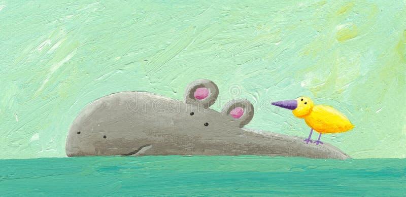 Grappige hippo en vogel royalty-vrije illustratie