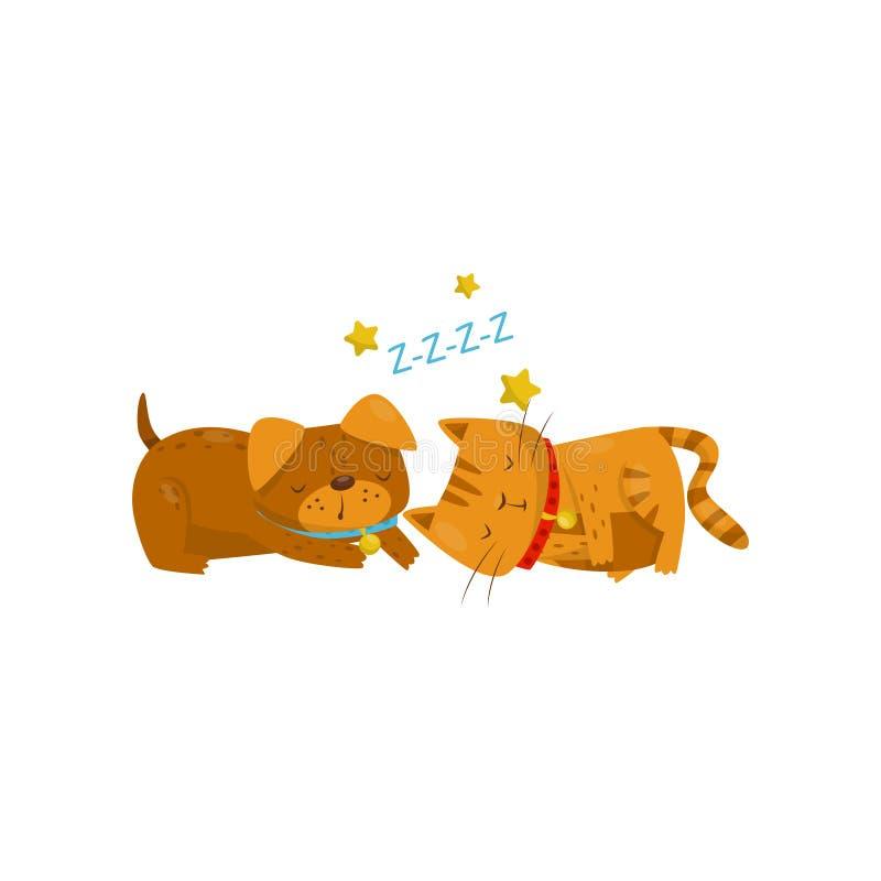 Grappige hond en kattenslaap op de vloer, de leuke binnenlandse karakters van het huisdierenbeeldverhaal, beste vrienden vectoril royalty-vrije illustratie