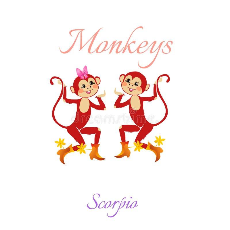 Grappige horoscoop met leuke apen De tekens van de dierenriem schorpioen royalty-vrije illustratie