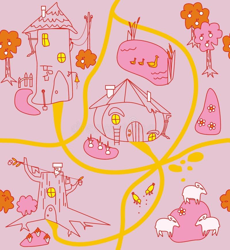 Grappige huizen, wegen, opheldering, lam, kip, eend, lam, tuin stock illustratie