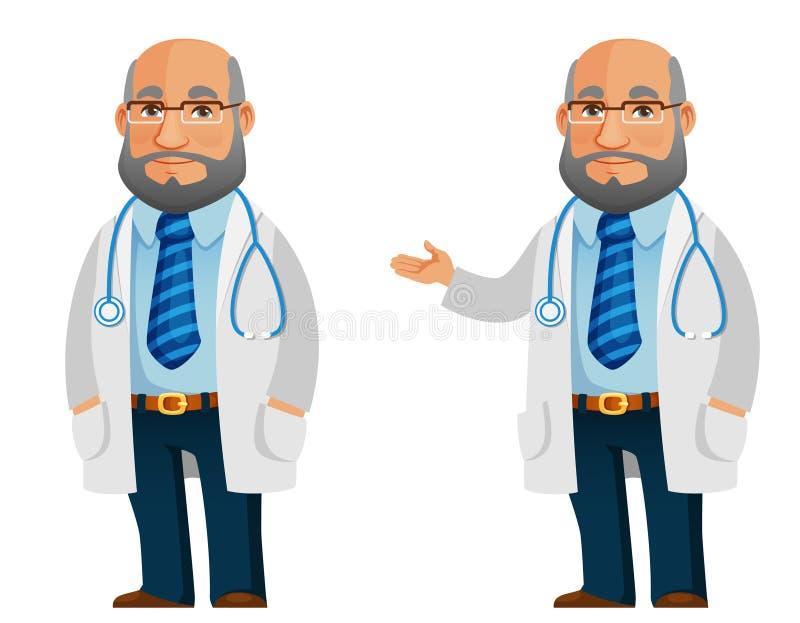Grappige illustratie van een vriendschappelijke hogere arts royalty-vrije illustratie