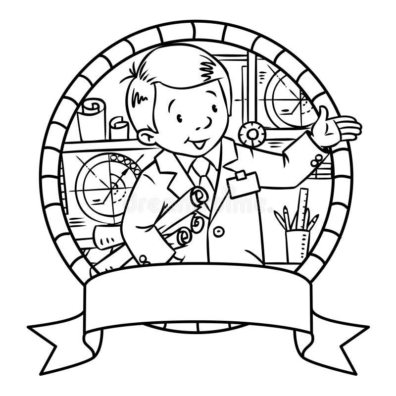 Grappige ingenieur of uitvinder embleem royalty-vrije illustratie