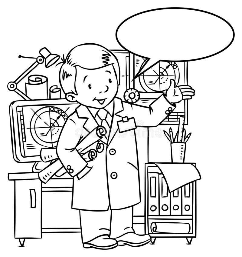 Grappige ingenieur of uitvinder Met ballon voor tekst vector illustratie