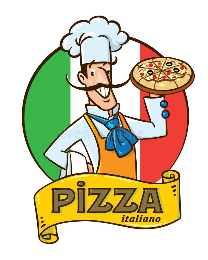 Grappige Italiaanse chef-kok met pizza Het ontwerp van het embleem vector illustratie